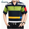 2017 Men's New POLO Mercerized Cotton Striped Short-Sleeved Casual POLO High-Quality Fabric 100% Cotton Loose soft 3XL MK 657
