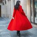 Mujeres de Invierno Largo Abrigo De Lana Rojo 2016 Otoño Más El Tamaño S-4XL de Un Solo Pecho Delgado Maxi Abrigo Abrigos De Mujer RS567