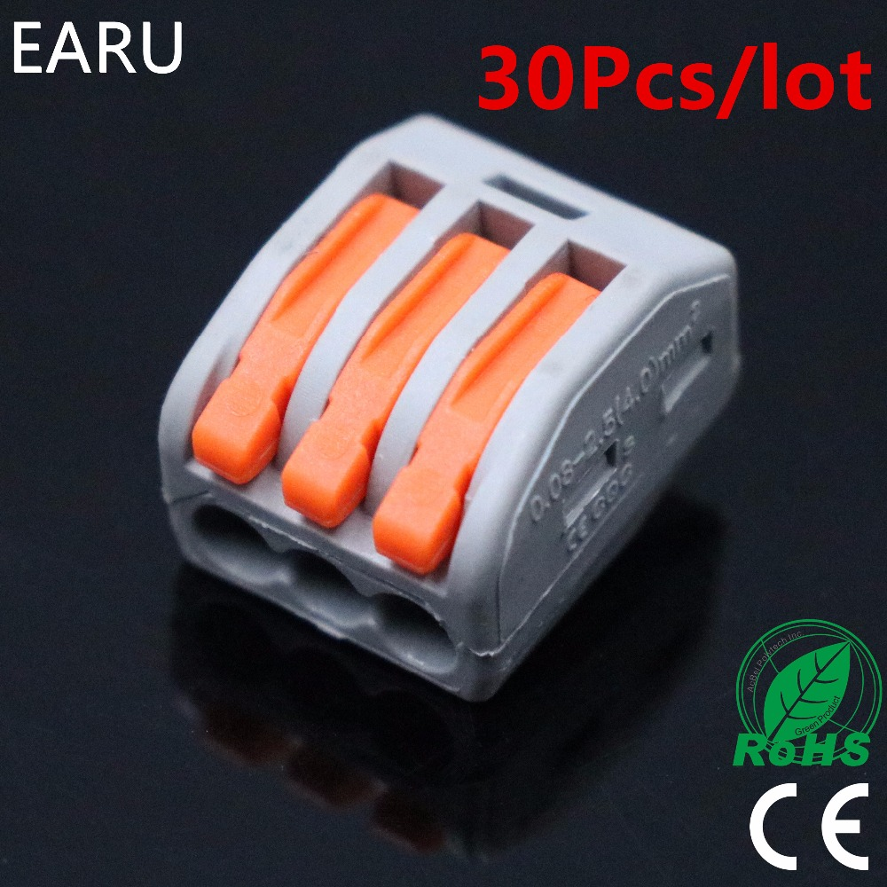 30pieces/lot) PCT-213 PCT213 WAGO 222-413 Universal Compact Wire Wiring Connector 3 pin Conductor Terminal Block Lever AWG 28-12 цена