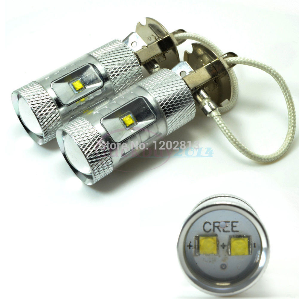 Free shipping 2Pcs <font><b>H3</b></font> 30W White 6000K Canbus No Error Message <font><b>LED</b></font> XBD Driving <font><b>Cree</b></font> Chips Fog Light Bulbs/DRL image