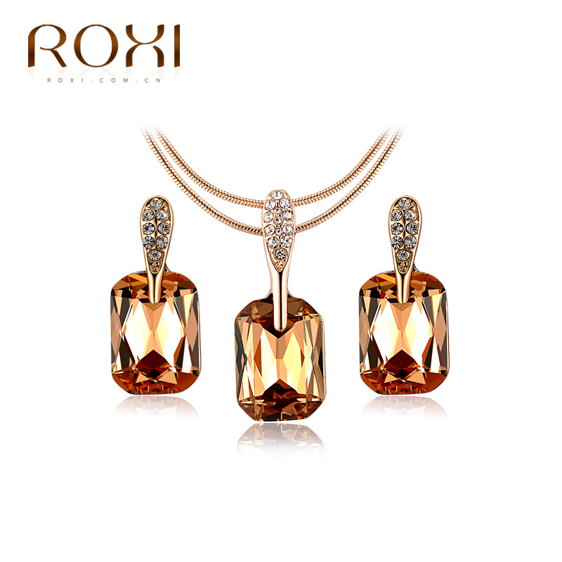 ROXI Brand Retro Necklaces Earrings Jewelry Sets Rose Gold Color Champagne Glass Crystal Statement Necklace Dangle Earring Set