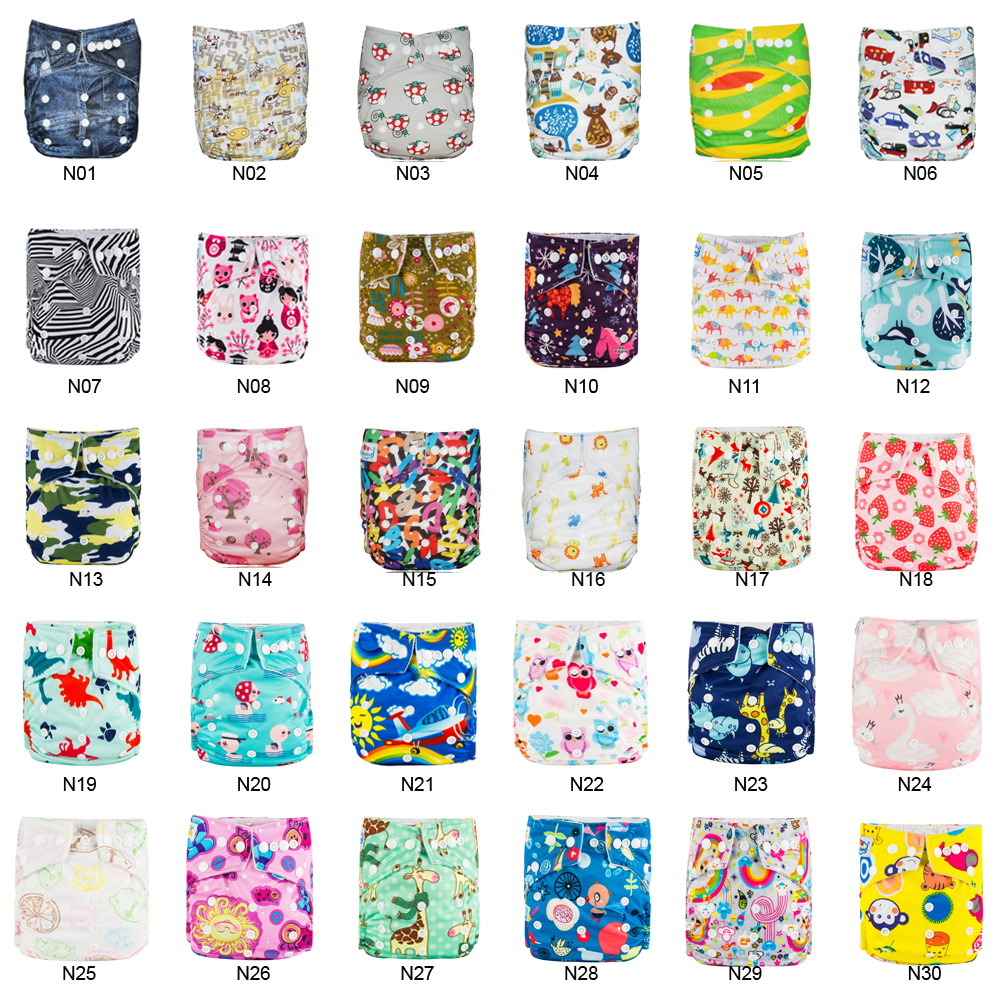 (100pcs A Lot) Washable Baby Cloth Diapers 0-3 Years Newborn To Potty Nappy Reusable Diaper Cover With Microfiber Absorbent Pads