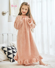 Winter Warm Baby Girls Sleepwear for Girls Nightdress Cute Princess Girls Nightgown Soft Fleece Teen Girls Sleep Dress cheap Acetate Fits true to size take your normal size Ruffles Children Solid European and American Style Nightgowns Flannel