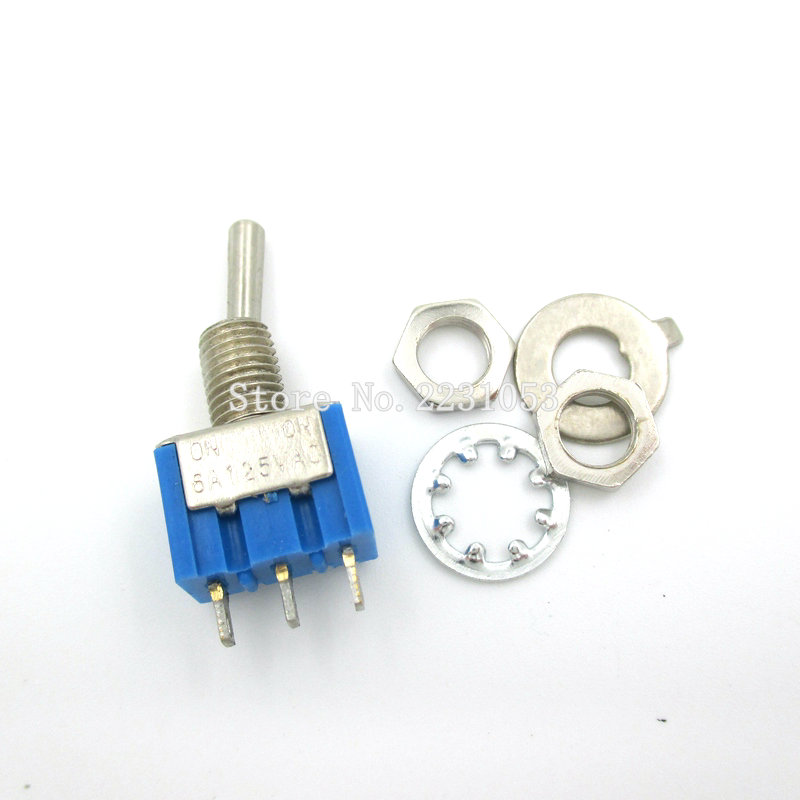 10PCS/LOT MTS-102 3-Pin SPDT ON-ON 6A 125VAC Miniature Toggle Switch 50pcs lot fr9220 200v 3 6a