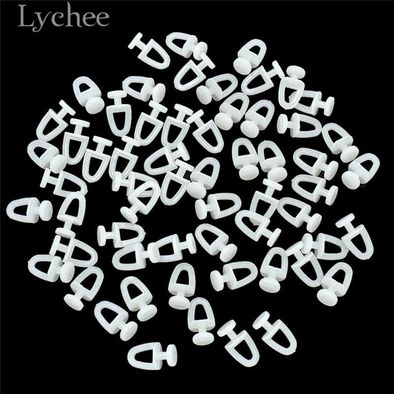 Lychee Life 60pcs Plastic Rail Curtain Hook Rollers High Quality Curtain Tracks Accessories