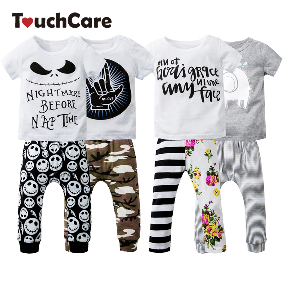 Newborn Cotton Cute Cartoon Baby Boy Girl Clothing Set Infant Elephant Words Printed T-shirt Tops+Pants ShortSleeve Kids Clothes baby boy clothes monkey cotton t shirt plaid outwear casual pants newborn boy clothes baby clothing set