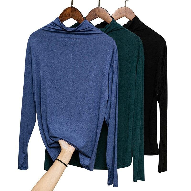 New Spring Antumn Women Turtleneck Modal T Shirt Tees -5294