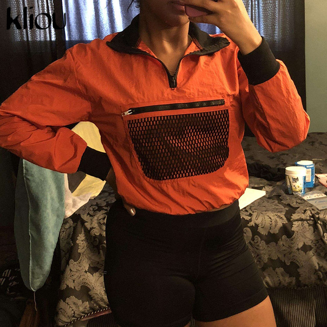 Kliou Long Sleeve Mesh Pocket Patchwork Collar Zipper T-shirt 2018 Summer Autumn Women Fashion Loose Casual Female Sweatshirt