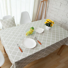 Countryside Style Geometric Print Rectangular Tablecloth Simple Cotton Table Cover Wedding Party Dinner Home Kitchen Decoration