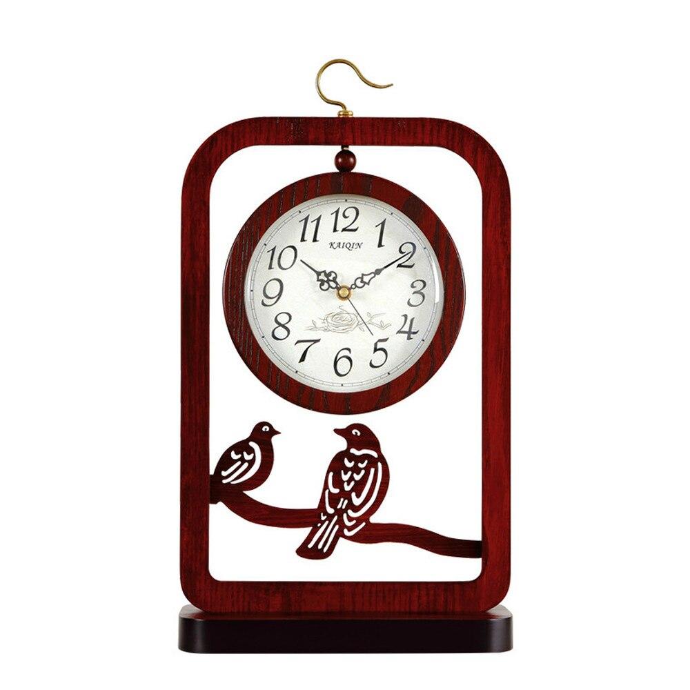 1 pièces style chinois style chinois siège horloge table de salon muet bureau horloge rétro double face siège horloge bureau LU614541