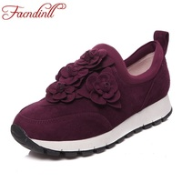 FACNDINLL New 2017 Fashion Women Flats Shoes Genuine Leather Autumn Women Black Red Casual Shoes Flat