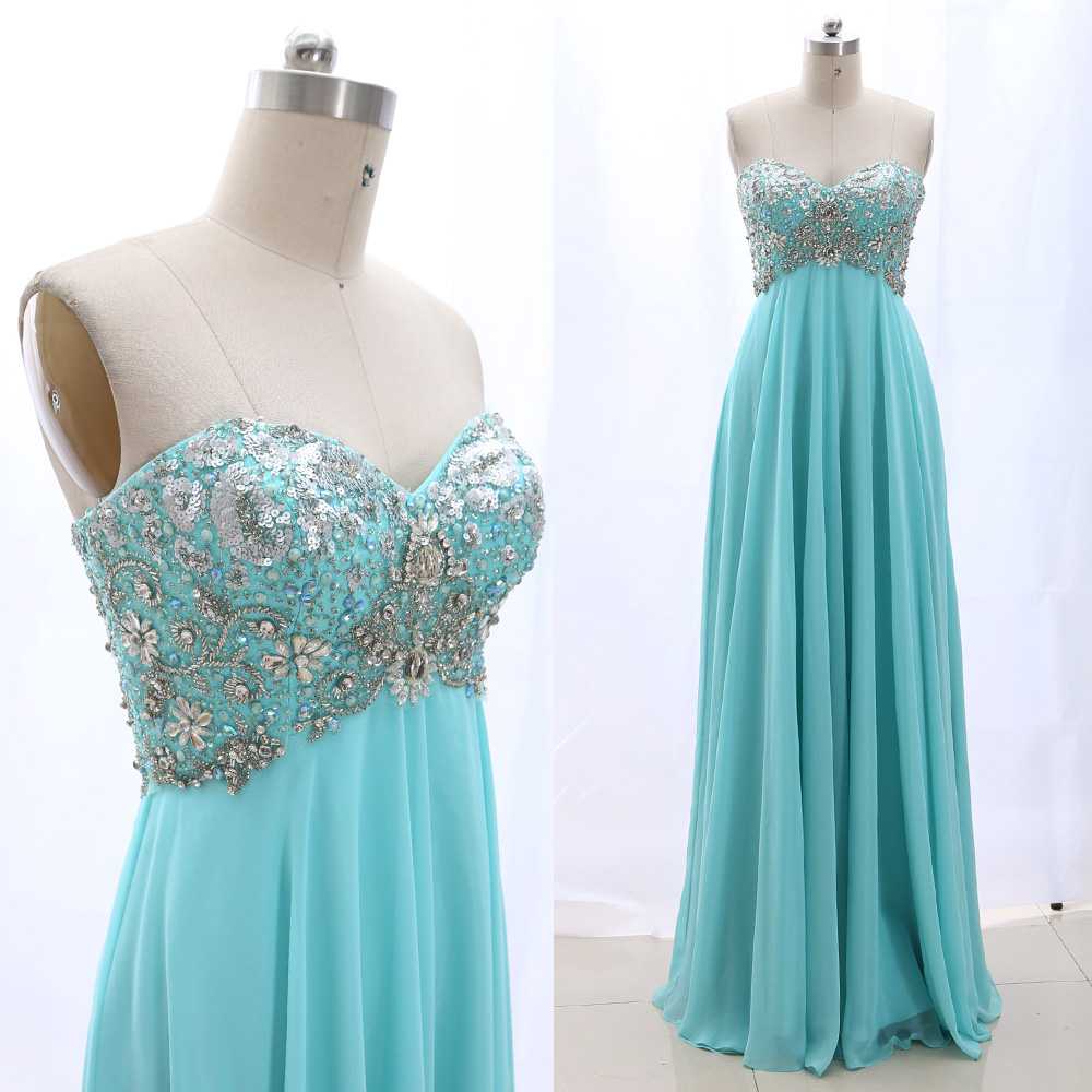MACloth Aqua a-ligne bretelles parole-longueur longues perles Tulle robes de bal robe M 265127 liquidation