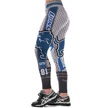 Unisex Football Team Lions 81 Print Tight Pants Workout Gym Training Running Yoga Sport Fitness Exercise Leggings Dropshipping
