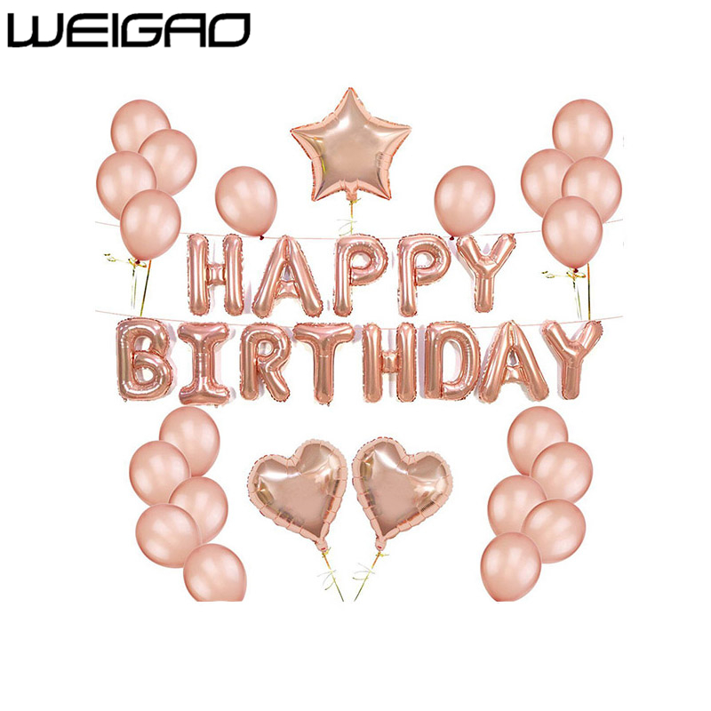 WEIGAO Rose Gold Happy Birthday Balloons Champagne Wedding Decoration LOVE Baloons Heart Shaped Valentine's Day Air Ballon