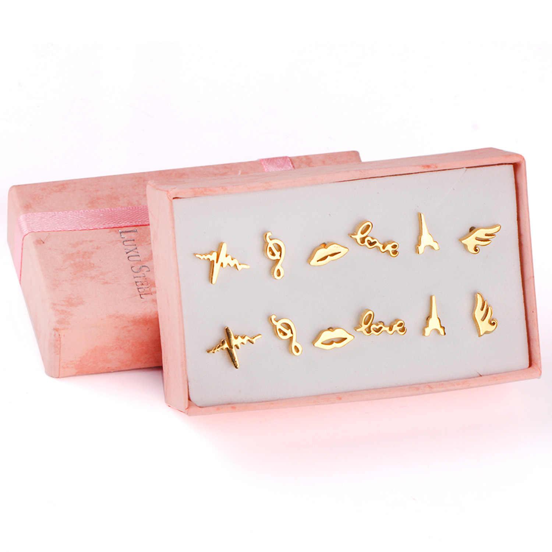 LUXUKISSKIDS 6 זוגות\קופסא pendientes נירוסטה Stud עגילי נשים של סט תכשיטים זהב שחור גברים עגיל Brincos