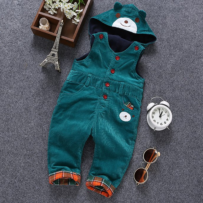 6m- 3 T Baby Rompers Winter Girls Boys Overalls Toddler Warm Velvet Bear Hooded Infant Long Pants Kids jumpsuit Pink Blue 2 children s winter rompers overall for kids pink blue warm coral velvet long sleeve jumpsuit bear baby clothes for kids