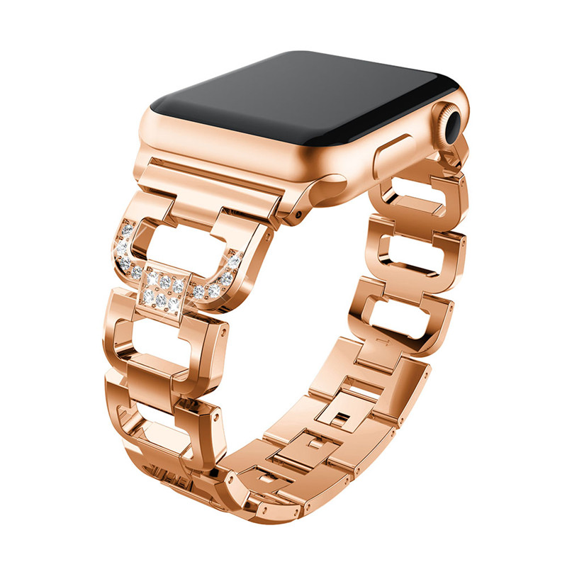 MULILAI Bling Diamond Watch Band for Apple Watch iWatch 42mm 38mm Metal Stainless Steel Replacement Strap Women Wristband Correa