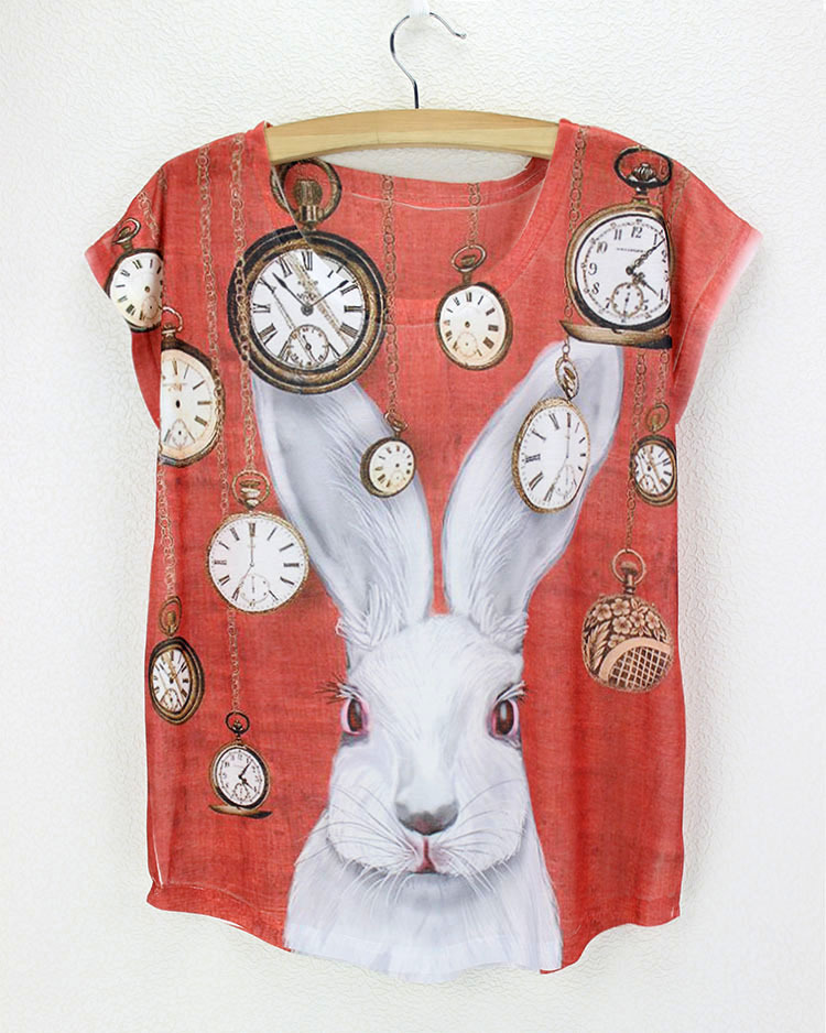 Rabbit pocket watch red shirt bunny chemise femme 2015 new for Printed t shirt cheap