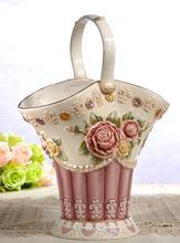 цена на ceramic cerative rose baskets flowers vase pot home decor crafts room weeding decorations handicraft porcelain figurines