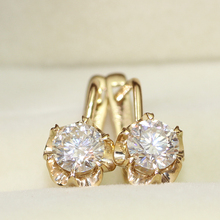 Queen Brilliance 1Carat ct Round Cut Lab Grown Moissanite Diamond Earrings For Women Fine Jewelry Genuine 14K 585 Yellow Gold