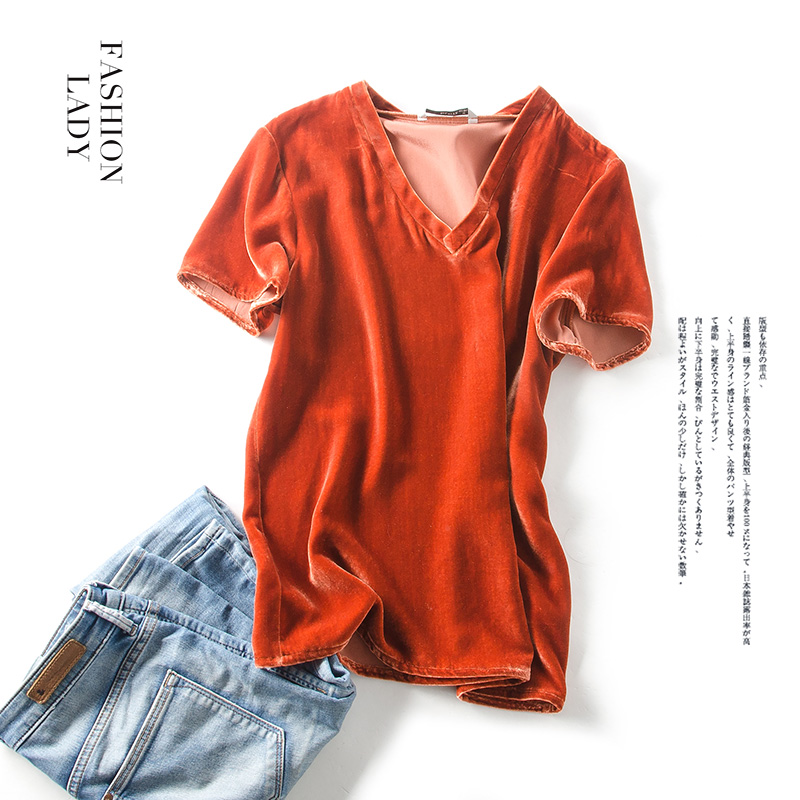 Woman T SHIRT Silk Velour casual Top Short sleeved V neck 2018 Spring Bottoming shirt Orange