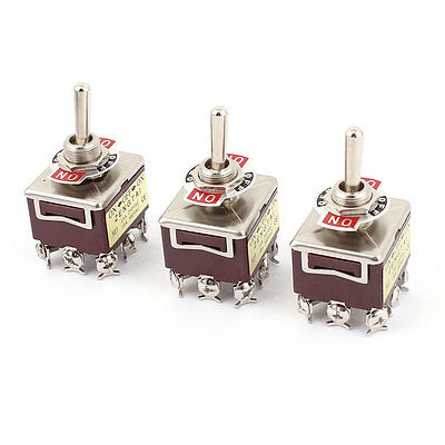 3Pcs AC 250V 15A 380V 10A 9 Terminal ON-OFF-ON 3 Position 3PDT Toggle Switch 303 5pcs lot high quality 2 pin snap in on off position snap boat button switch 12v 110v 250v t1405 p0 5
