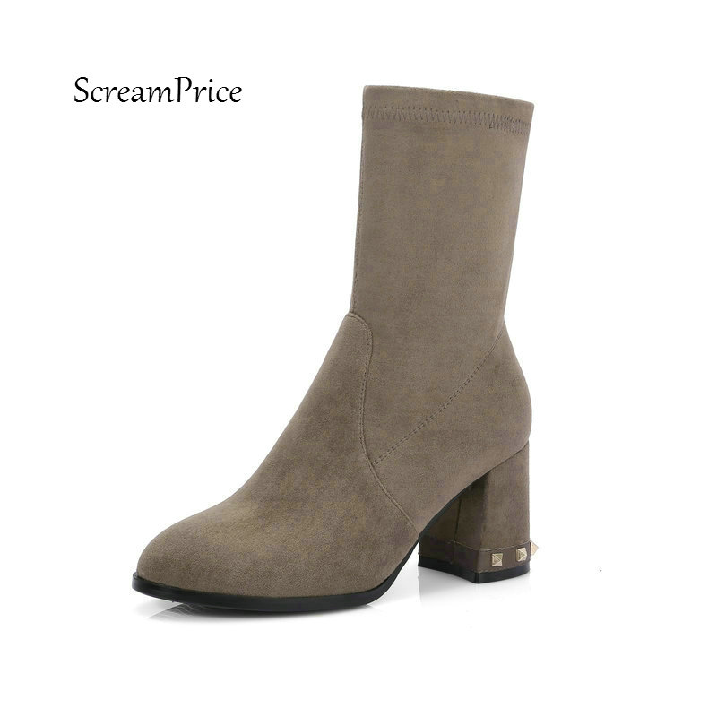 Women Suede Slip On Comfortable Square Heel Ankle Boots Fashion Rivet Pointed Toe Winter Elastic Boots Black Gray ms noki fashion buckle solid women ankle boots square heel pointed toe ladies booties retro comfortable slip on female botas hot