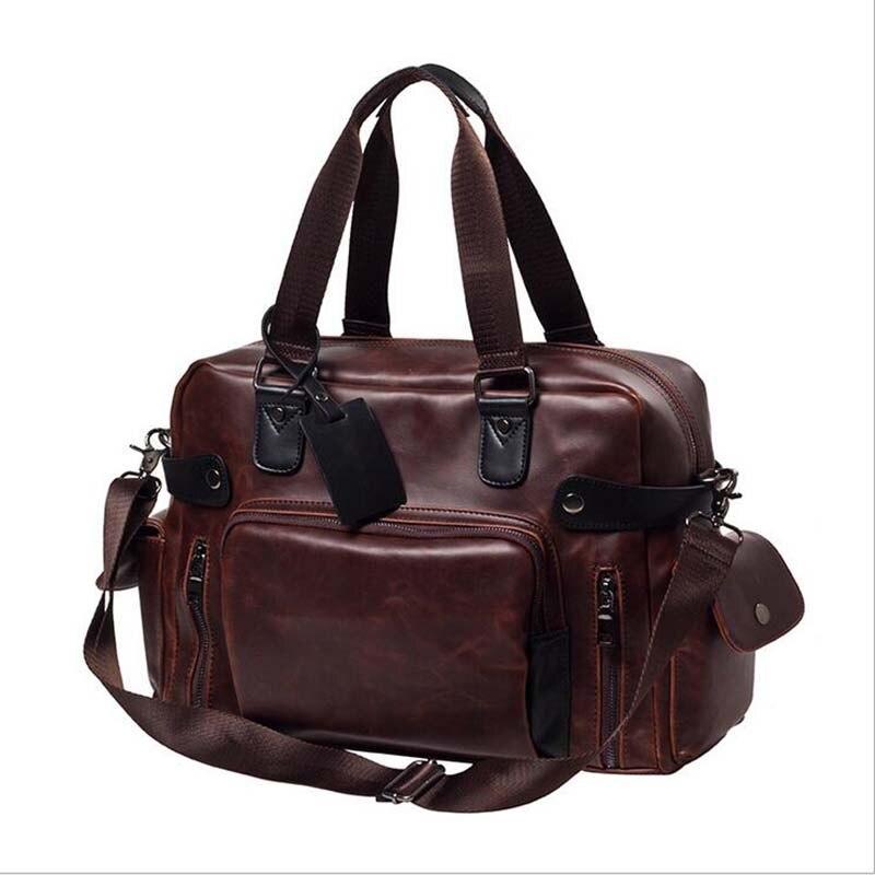 New Fashion PU Leather font b Men s b font Travel font b Bags b font