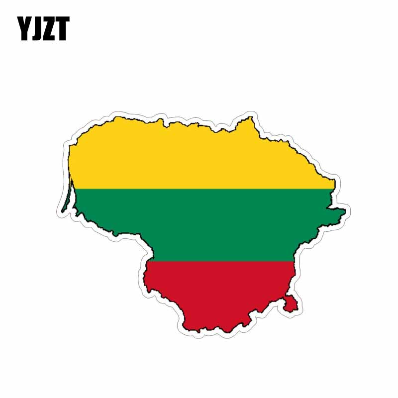 YJZT 14..2CM*10.9CM Personality Lithuania Flag Car Sticker Motorcycle Decal 6-0621