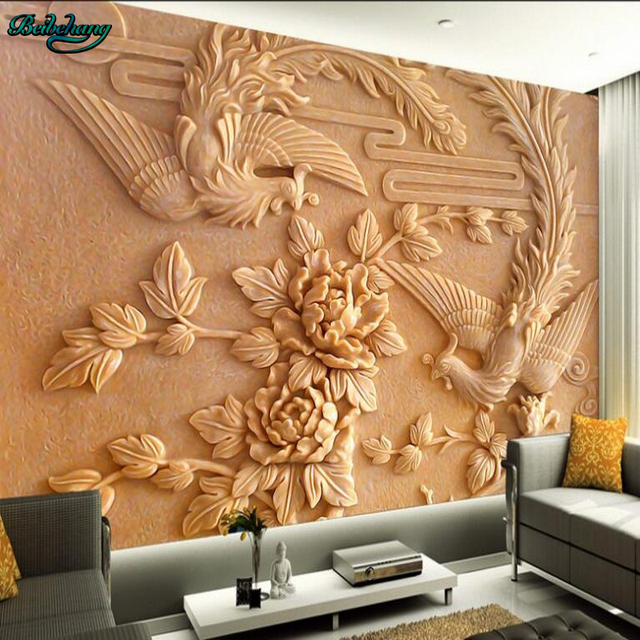 Beibehang Large Customized Chinese Peony Phoenix Mural TV Living Room  Bedroom Background Home Decor