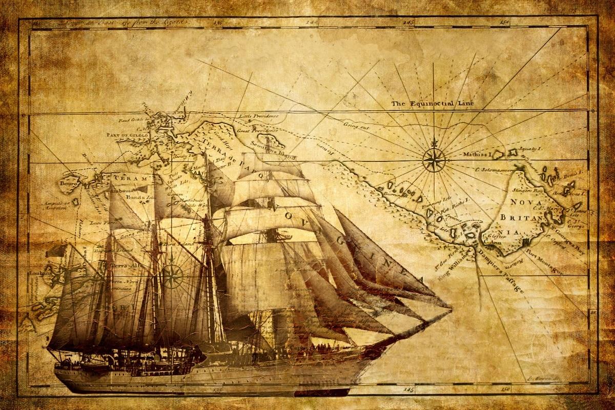 old nautical sailing map wallpaper living room decor home wall art ...
