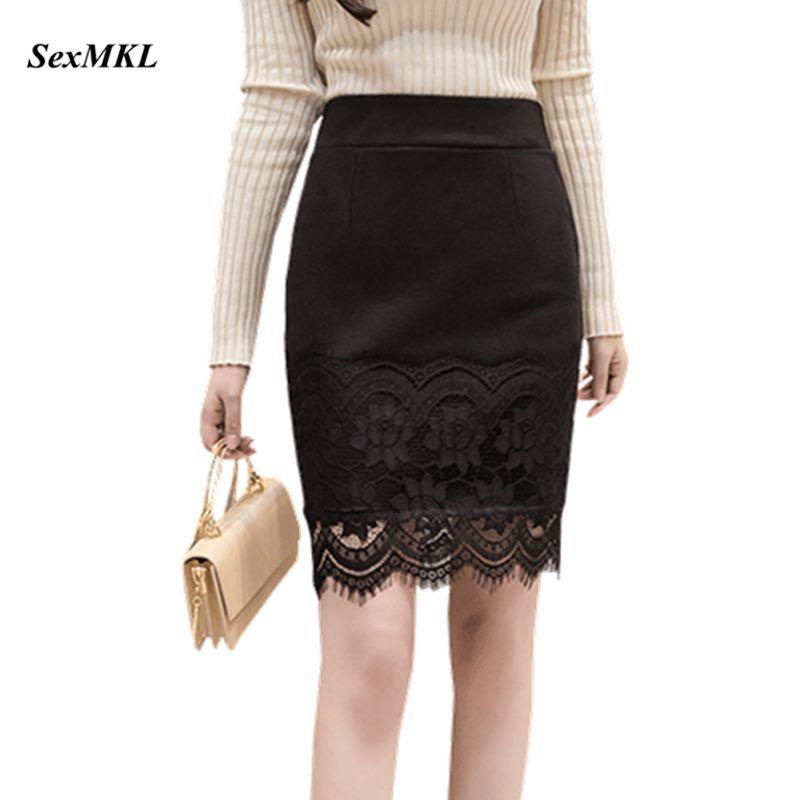 SEXMKL Plus Size Elastic Black Mini Skirt Women 2019 Fashion High Wasit Skirts Korean Lace Jupe Femme Sexy Short Pencil Skirt