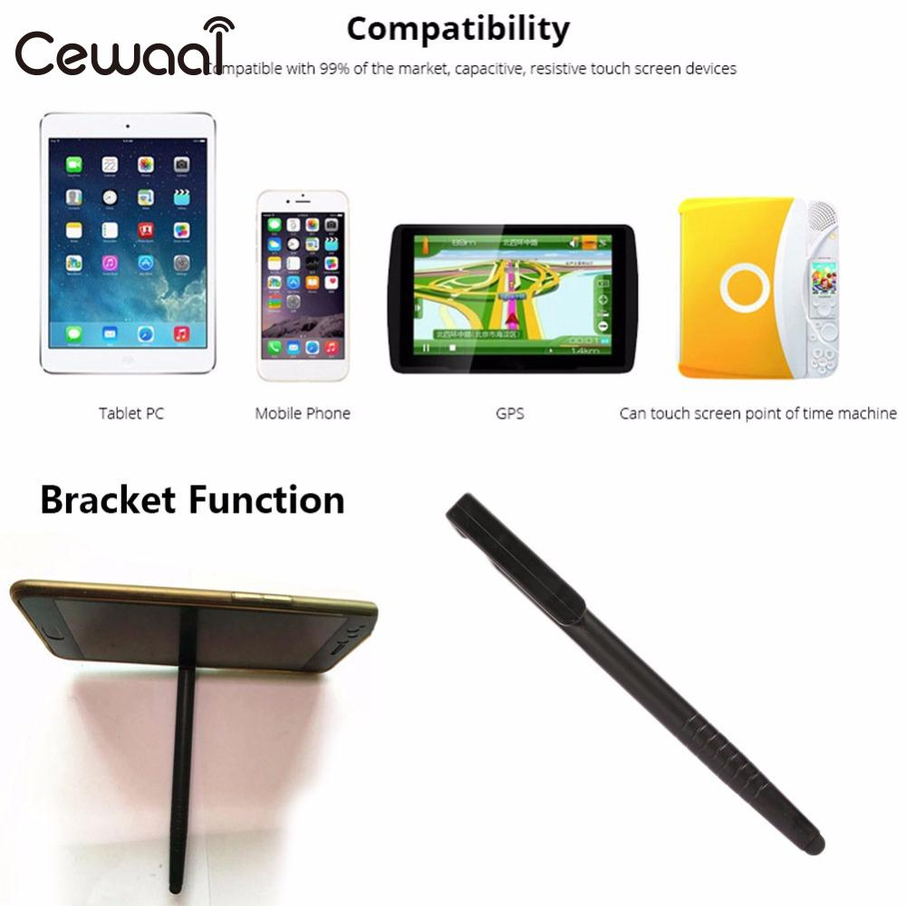 Cewaal 2 In 1 Multifunction Touch Screen Pencil Phone Stand Bracket PC Black Plastic Point Stylus Capacitive Pen Portable