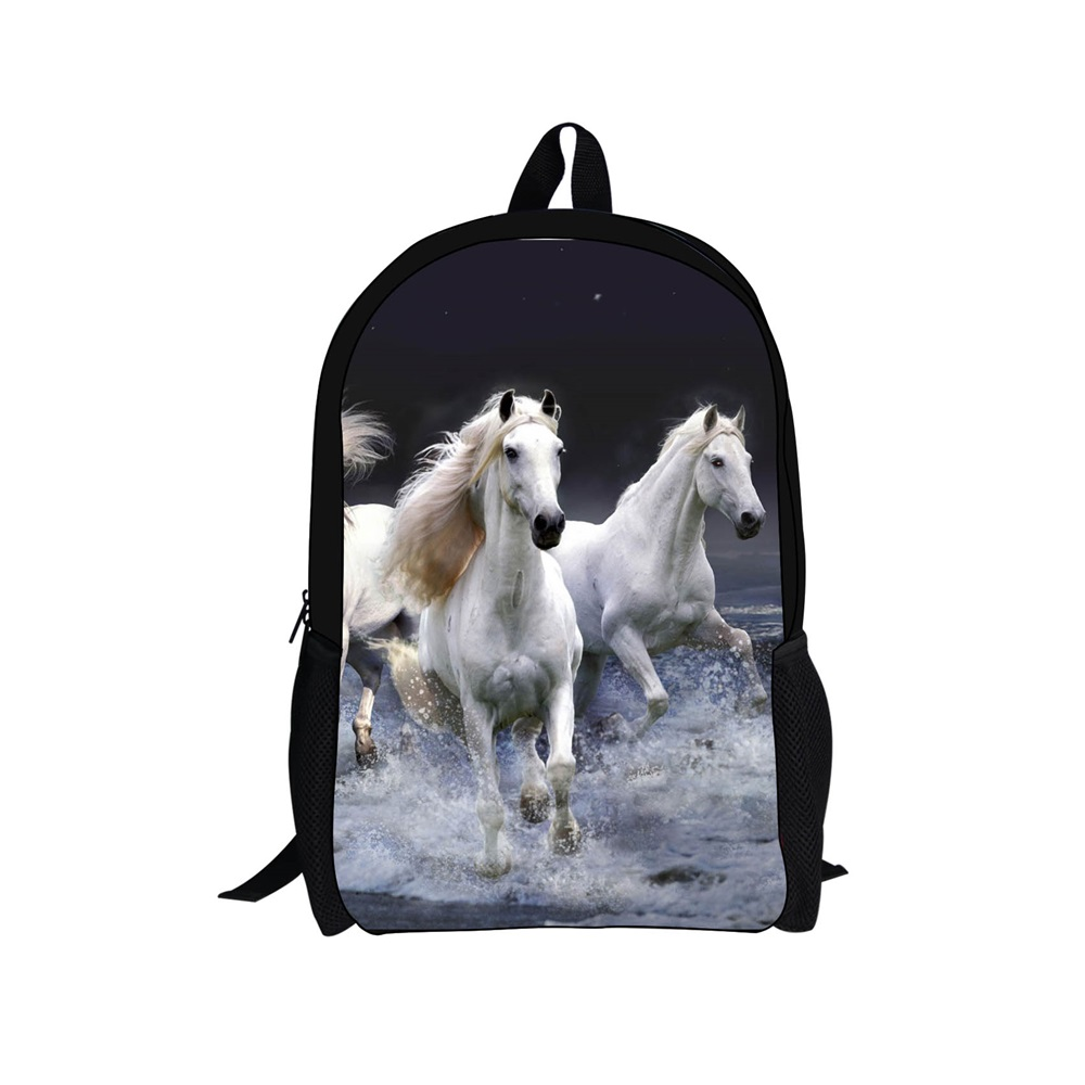 INSTANTARTS 3D Crazy Horse Printing Children Schoolbag Kids Boys Bookbags Cool Animal School Bags for Teenager Mochila Infantil