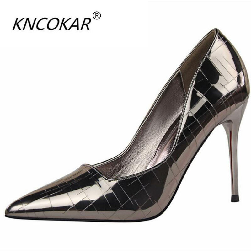 KNCOKAR2018 hot fashion Spring and summer new European pointed sexy snake grain and high heeled women's shoes