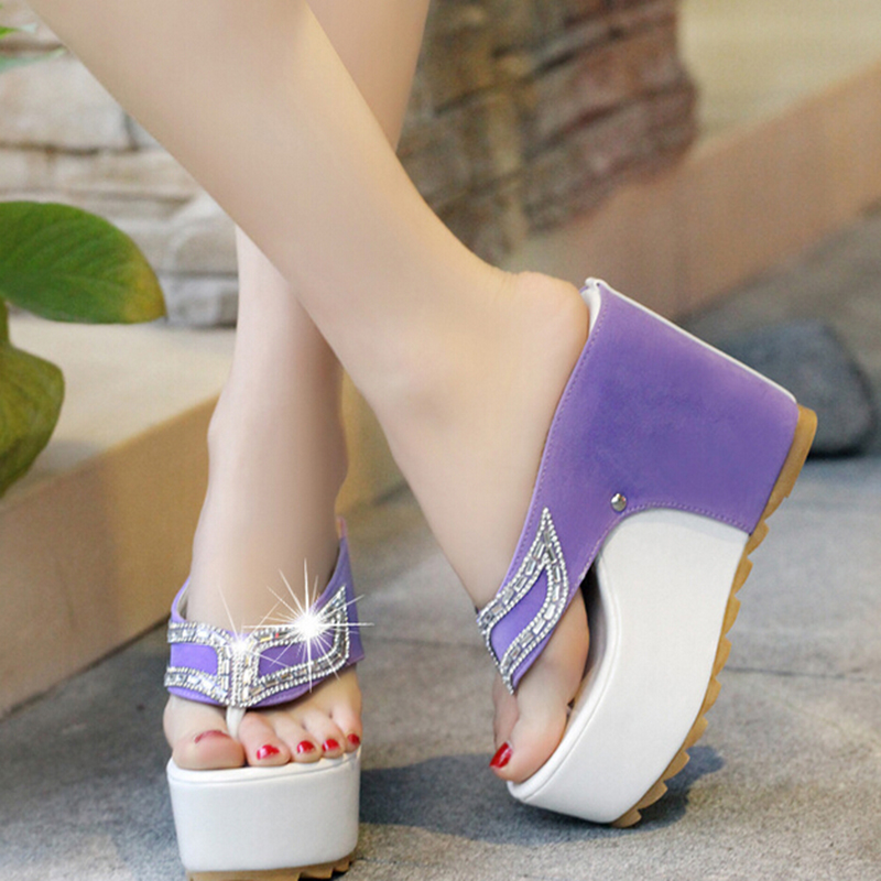 ec6f88b07 Brand Thick Bottom Platform Flip Flops Rhinestone Wedge Heel Shoes  Patchwork Woman Summer Sandals-in Slippers from Shoes on Aliexpress.com