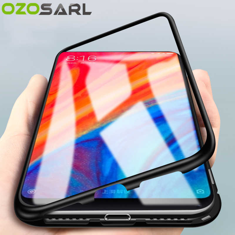 low priced 41aee e515f Magnetic Adsorption Case for Xiaomi Mi 8 Case Redmi Note 5 Pro Full Cover  Magnet Tempered Glass Case for Redmi Note 6 Pro Case