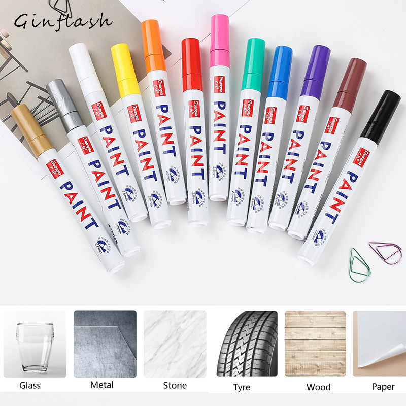 Colorful Sign Waterproof Car Tyre Tire Tread CD Metal Permanent Paint Marker Graffti Oily Marker DIY Art Marker Pen Stationery