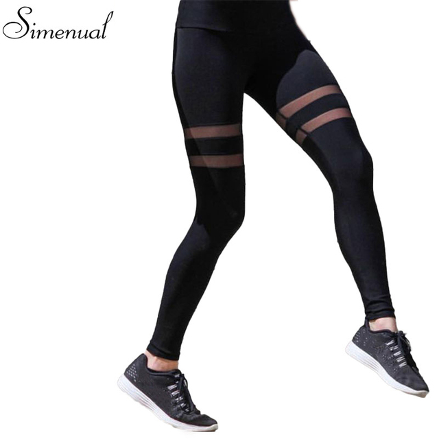 Striped mesh splice fitness legging 2017 athleisure elastic slim sexy leggings for women harajuku fashion women's jeggings sale