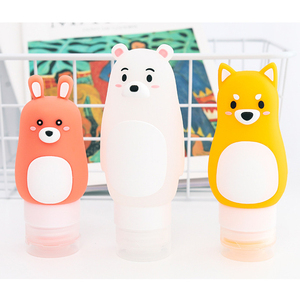 Image 4 - Animal portátil dos desenhos animados urso pinguim silicone caso de viagem organizador shampoo chuveiro gel loção armazenamento recarregável garrafa
