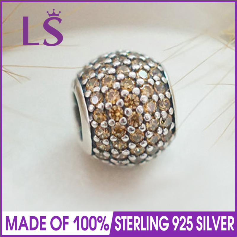 LS High Quality Real 100% 925 Silver&Golden Pave Ball Charm Beads Fit Original Bracelets Pulseira Encantos.100% Fine Jewlery W