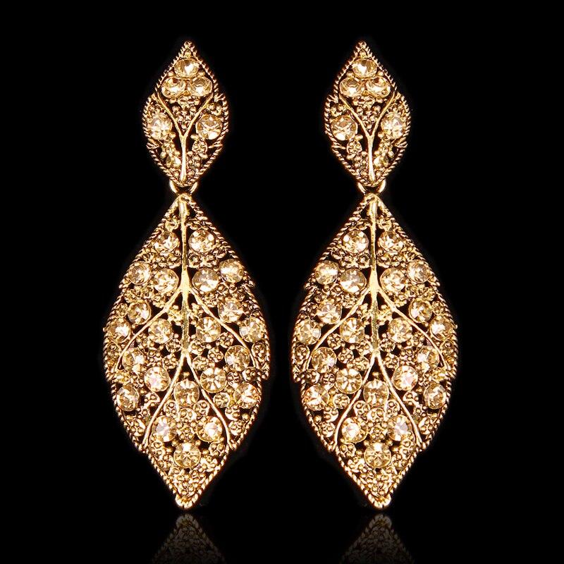 Fashion Leaf Party Jewelry Indian Style Earrings Statement Long Dangle Drop Antique Vintage Earrings Retro Gift for Women E16457 earrings