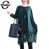 Oladivi Brand Plus Size Women Clothing Lace Tops Tees Long Sleeves T Shirt 2019 Spring Autumn Ladies Shirts Tunics Female Blusas