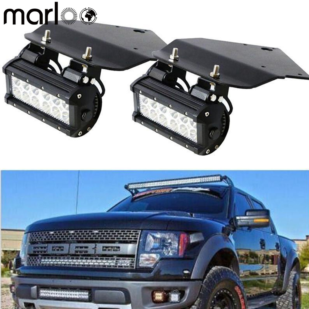 Marloo Bumper 36W LED Fog Lights With Mount Brackets Kit For Ford F150 SVT Raptor Truck 2010 2011 2012 2013 2014 for f150 raptor f 150 led tail light rear lights for ford 2008 2012 year smoke black sn