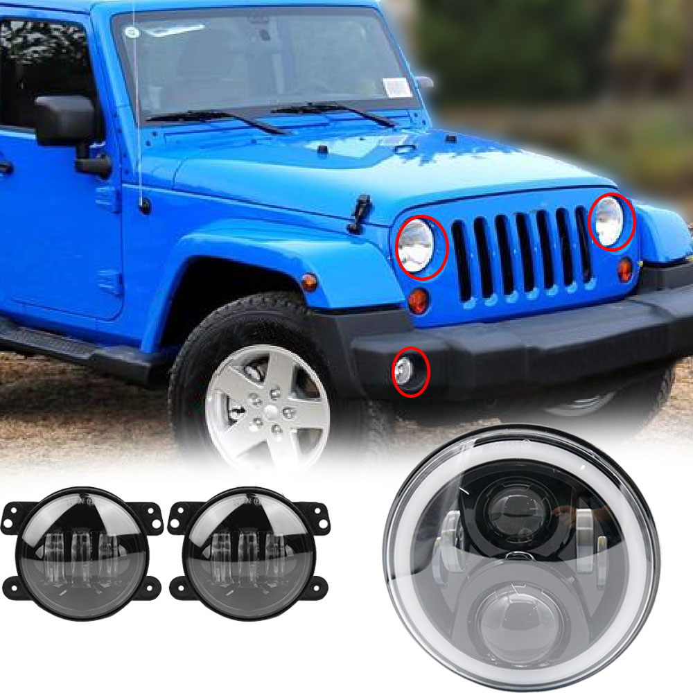 Pair 75W 7 Led Headlights DRL Projection + 4 inch Fog Lights White Halo For Jeep Wrangler JK TJ LJ Sahara Rubicon Unlimited щит пластиковый лезард щрн п 12 на 12 модулей