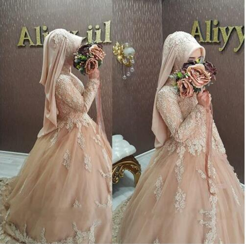 Wedding Gowns For Muslim Brides: Robe De Mariage 2019 Hijab Muslim Lace Long Sleeve
