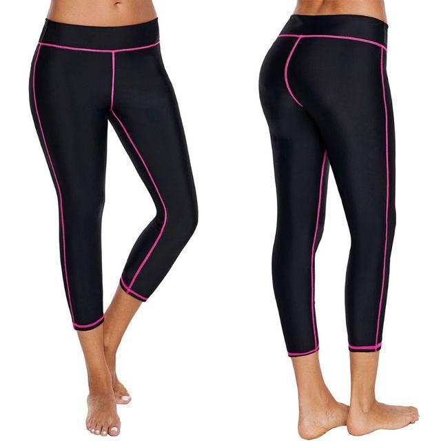 c36bd2b7263b80 Womens Plus Size High Waist UV Protection Capris Swim Pants Stripes Tights  Surfing Snorkeling Diving Leggings Quick Dry Swimsuit