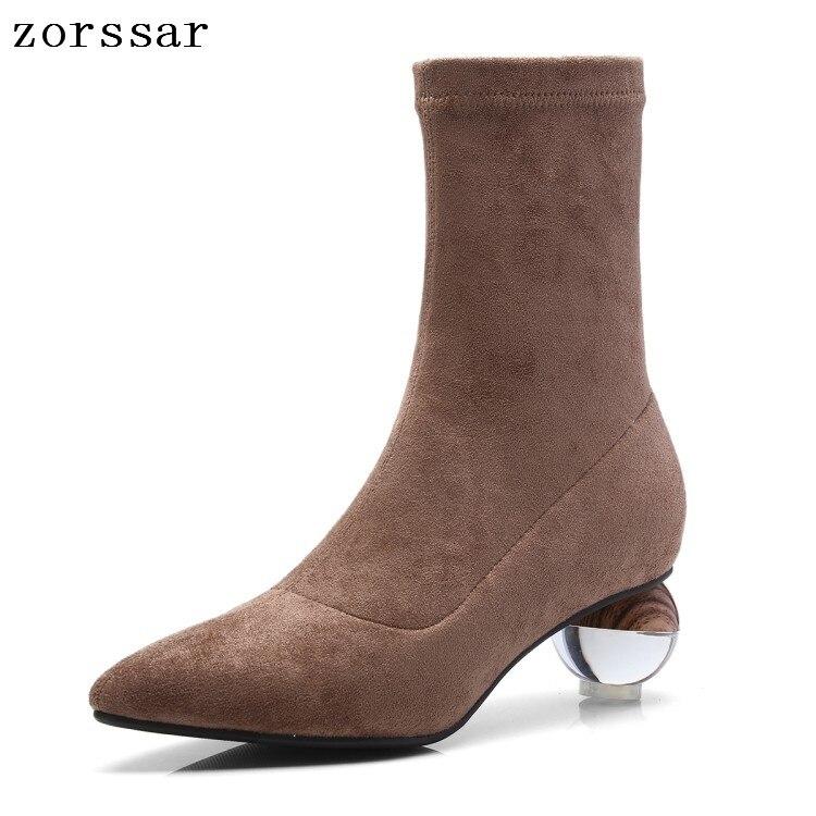 83be279d Zapatos Mujer {zorssar} Tobillo De Botines Gamuza Alto Tacón 2019 marrón  Elástico Moda Negro Cuero Invierno Botas qrwtvfra