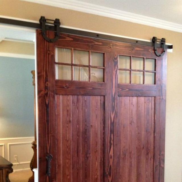 (Free Shipping) 8FT Black Antique Horseshoe Single Wood Sliding Barn Door  Hardware Interior Track