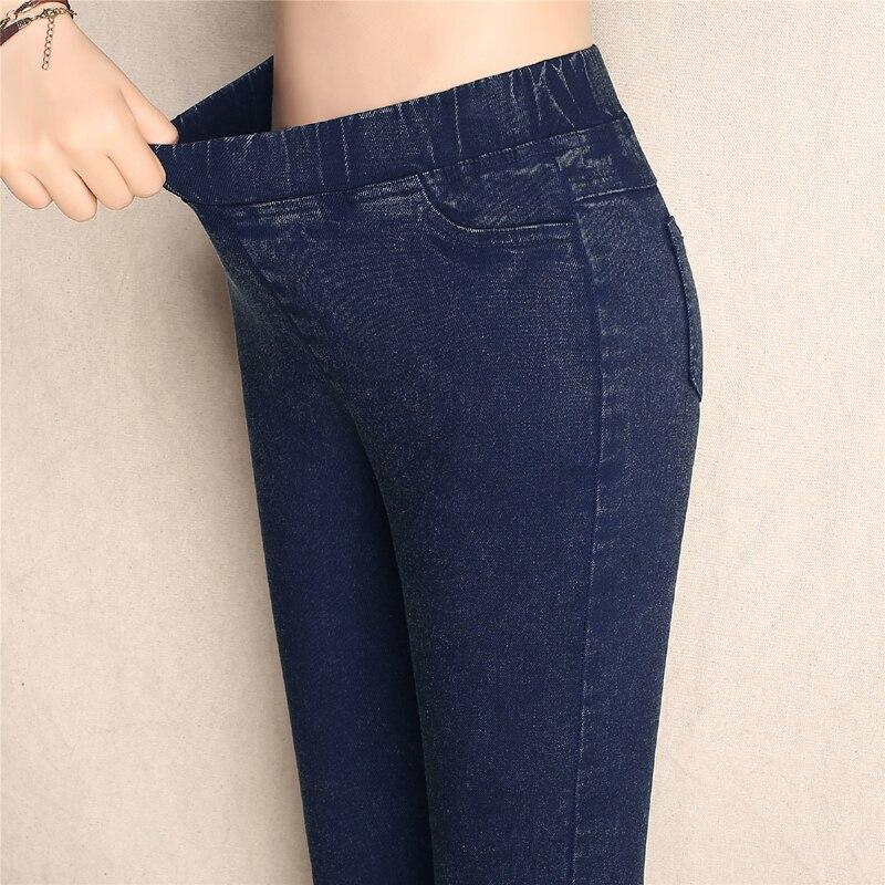 Big Yards 2017 Spring Autumn Lmitation Jeans Pants Women Elastic Waist Trousers Ladies Vintage Pencil Slim Skinny Jeans 3 Colors 1